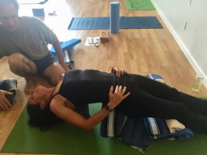 With Dr Cole, Supported fish pose, restorative yoga